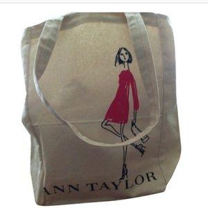 Ann Taylor Canvas Fem Art Graphic Tote Bag Purse